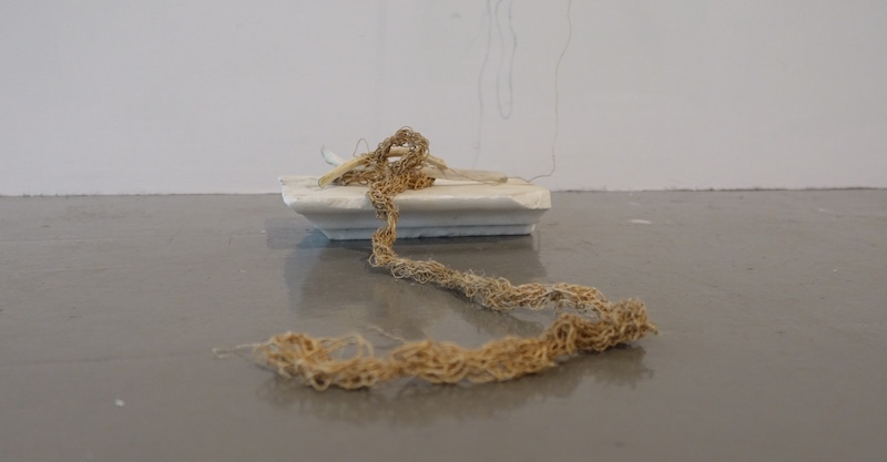 Apopoclectic Show , James Hockey Gallery, Farnham 2019 (Flax, marble, bone)