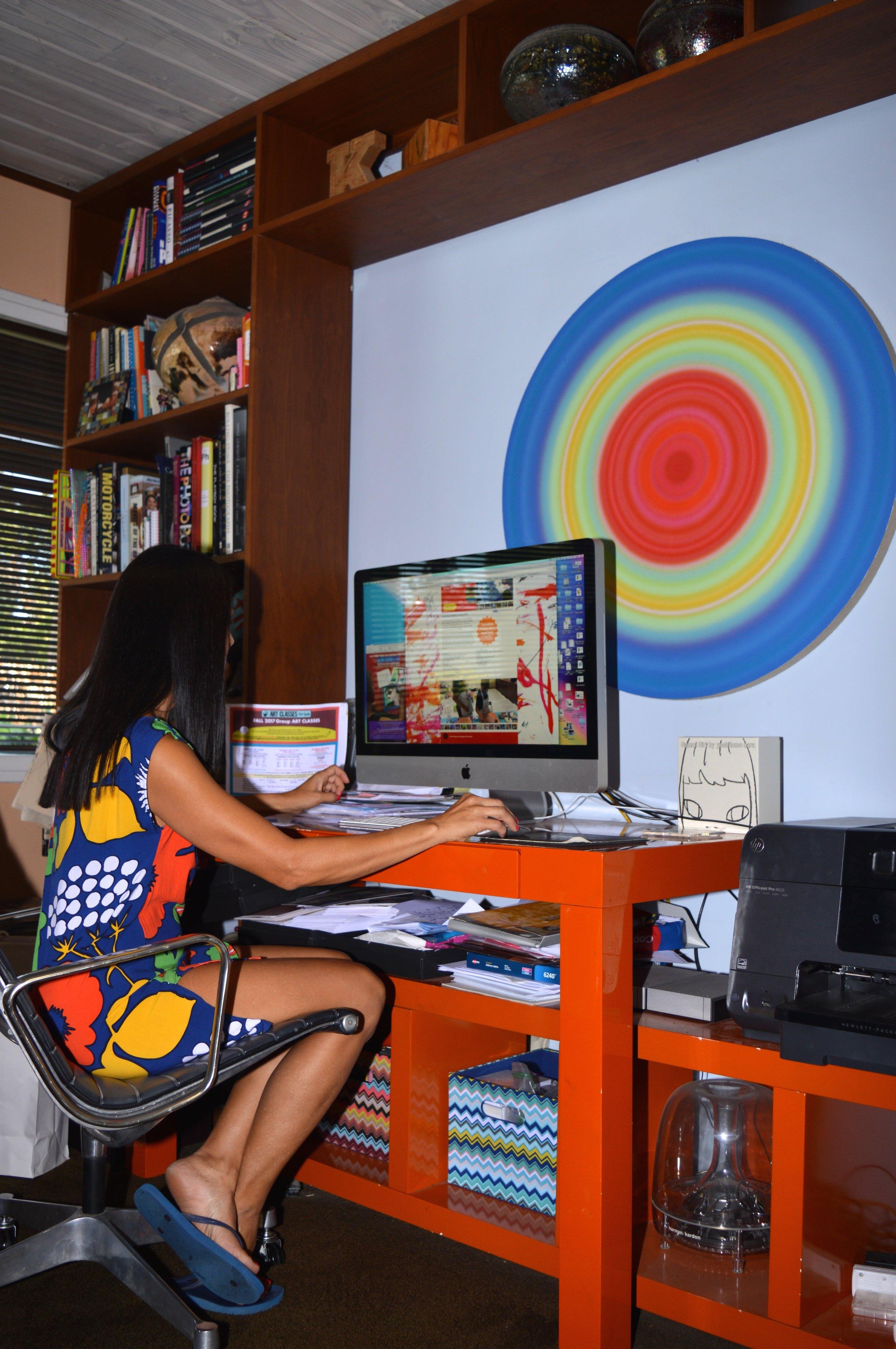 Kim Bavington at desk