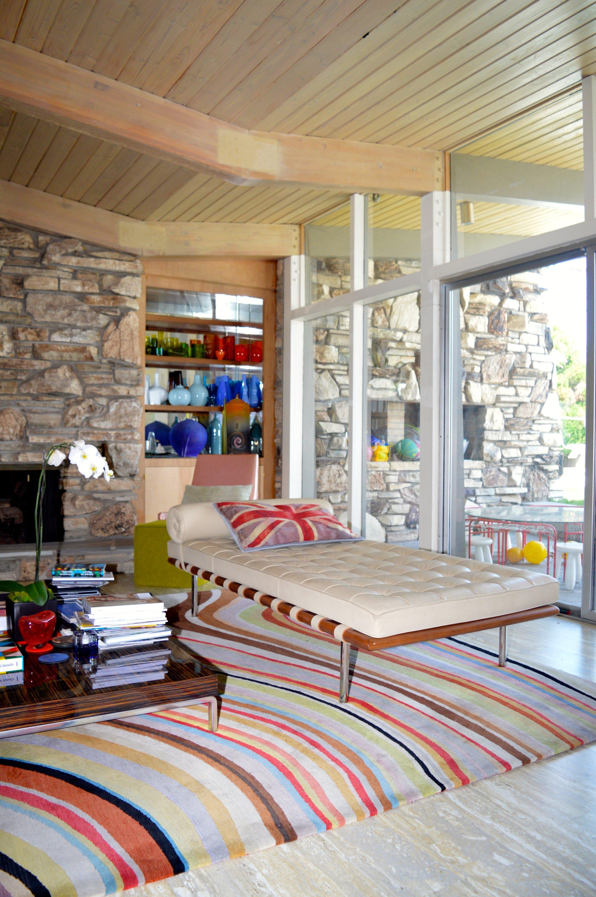 The Bavington's living room overlooking the pool.