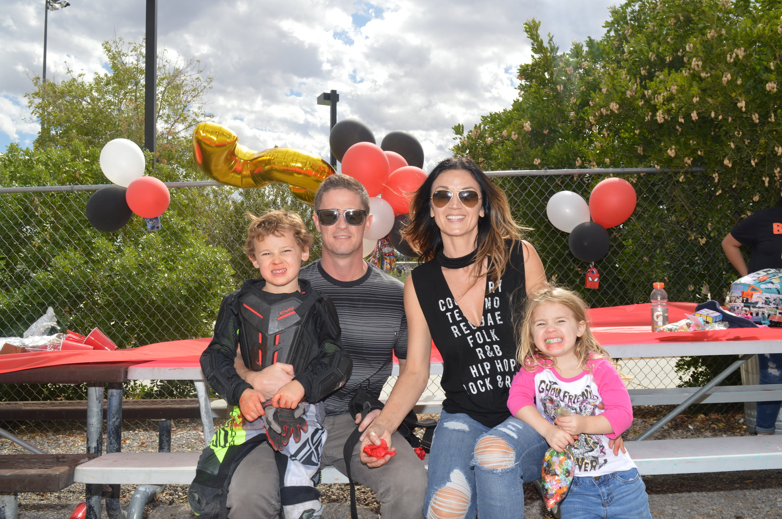 VEGAMAMA Aurora with her family; Birthday Boy Cache, now 5 years old, papa Adam Malan, VEGASMAMA Aurora & Sierra Malan.