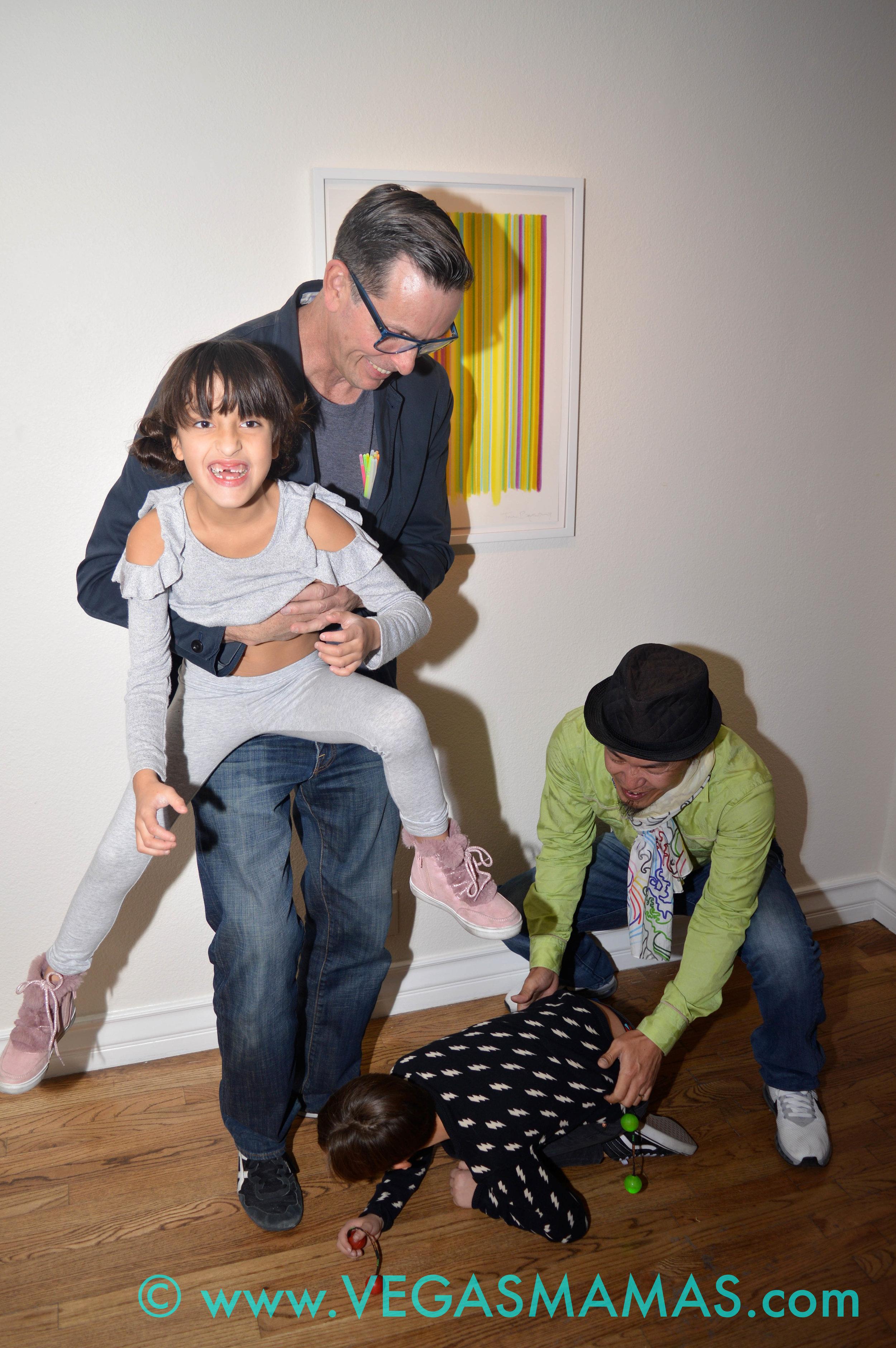 Tim Bavington with his twins Lily & Jet and Sush Machida.