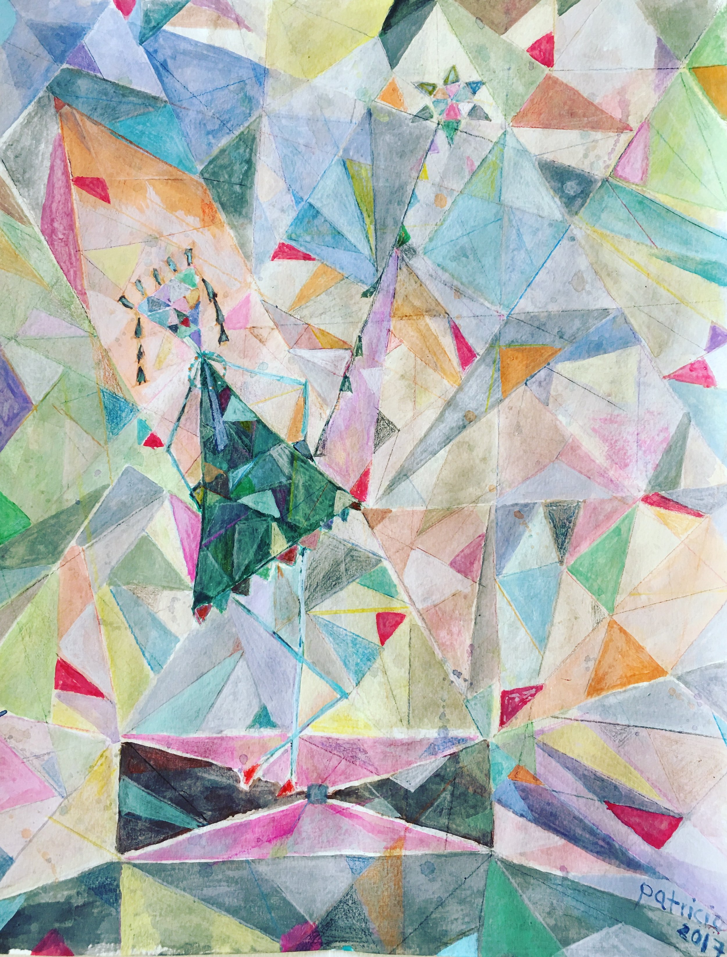 "MAMA Triangle  by Patricio Solis for VEGASMAMAS, 2017, 11"" x 14"", mixed media on paper"