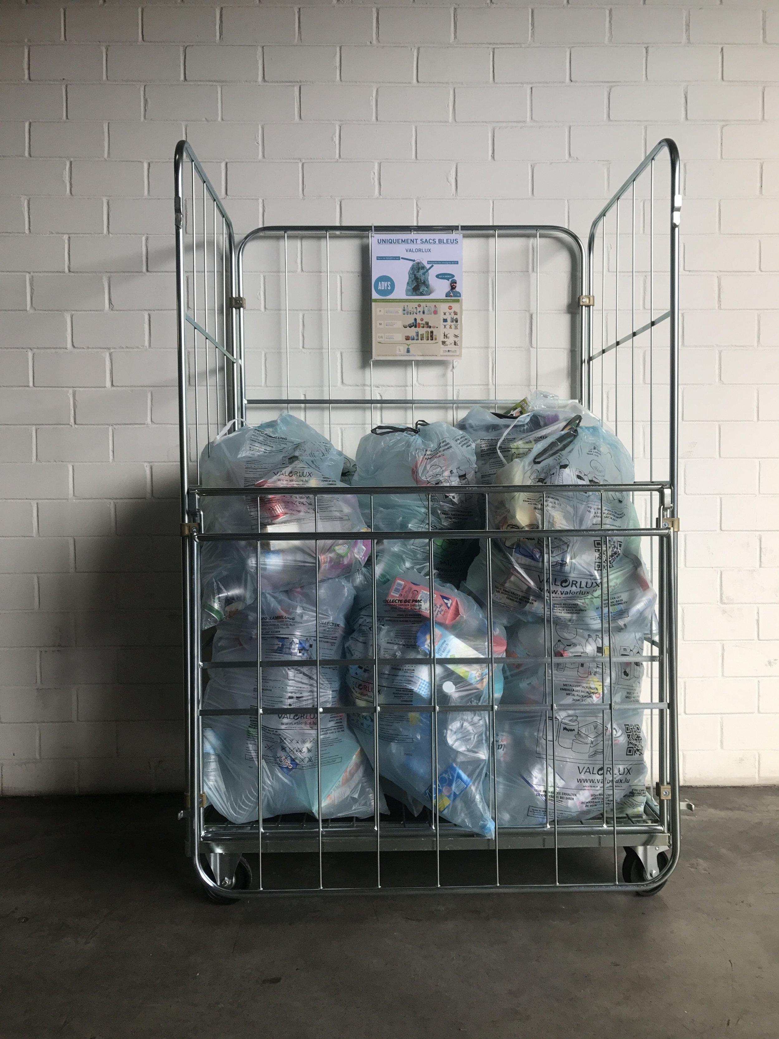 chariot valorlux livraison commande déchets recycling revalorisation valorlux sac grille