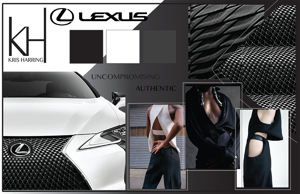 UNCOMPROMISING, AUTHENTIC ARE TWO CORE VALUES OF THE LEXUS BRAND - WHICH FLOWS SEAMLESSLY INTO THE CORE VALUES OF KRIS HARRING DESIGN.