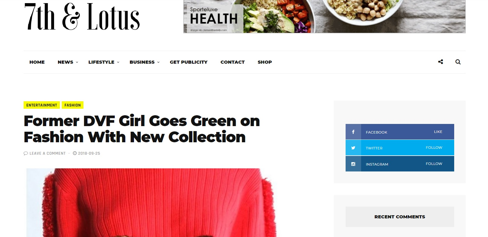 """Former DVF Girl Goes Green On Fashion With New Collection."" -  www.   7thAndLotus.com"