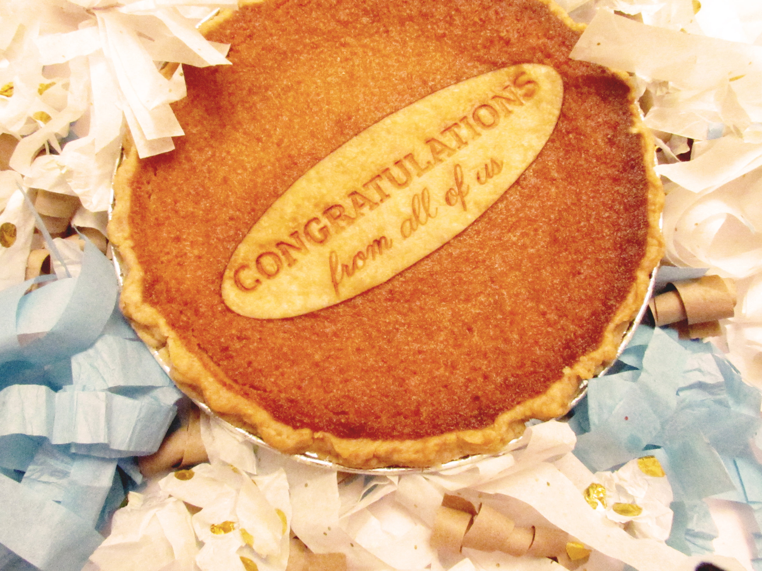 "Custom-engraved ""Congratulations"" Pie"