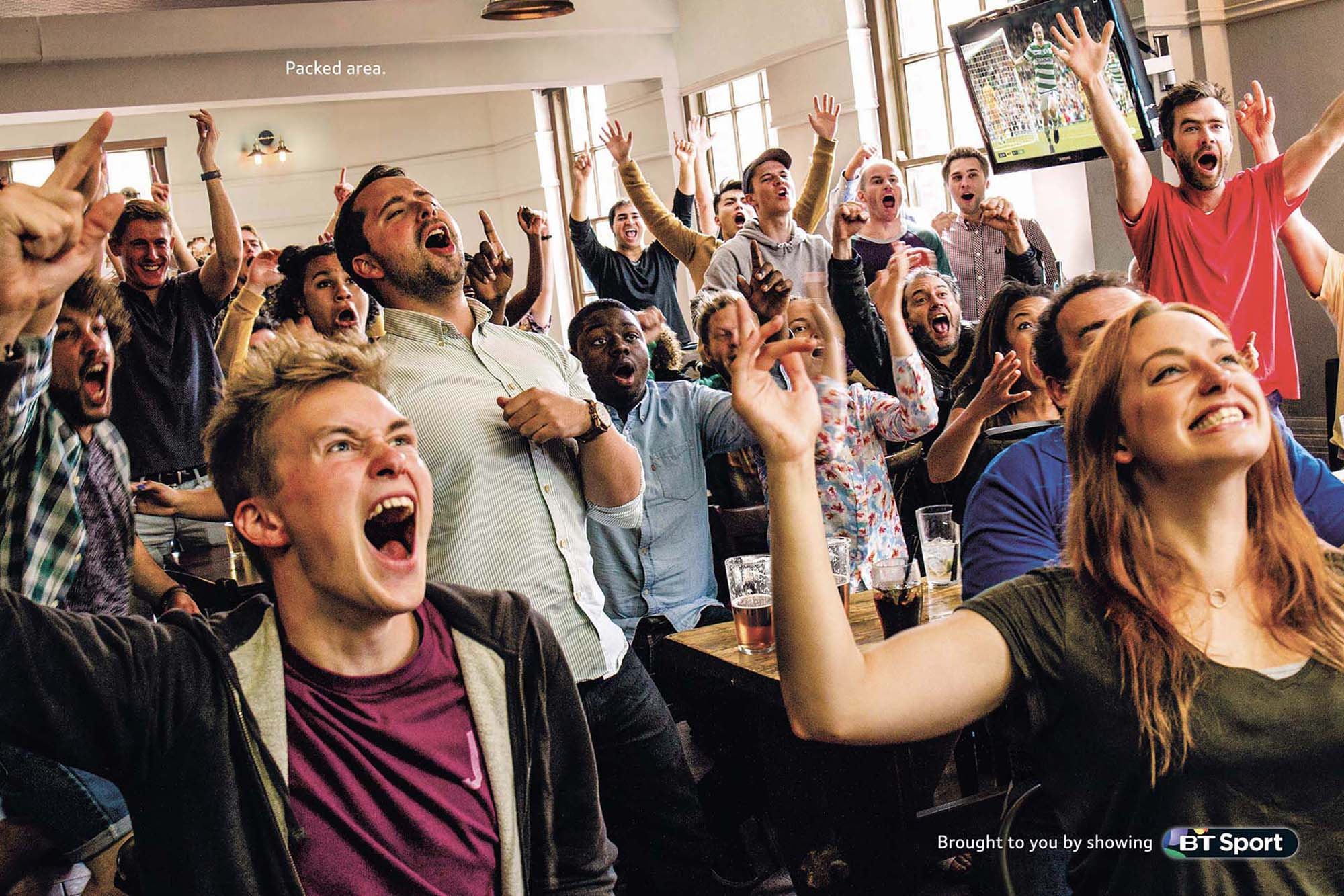 sports fans pub celebration