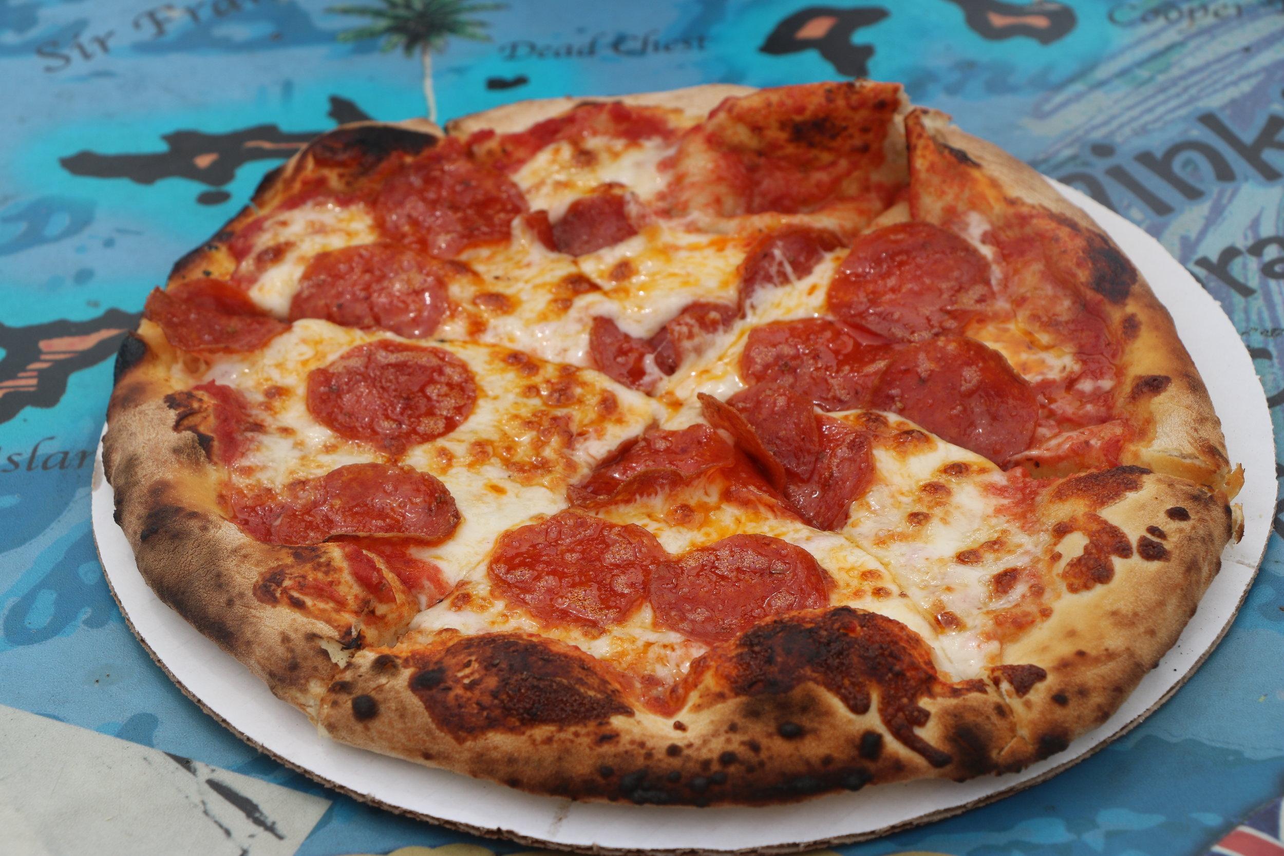 Fresh, brick oven pizza -