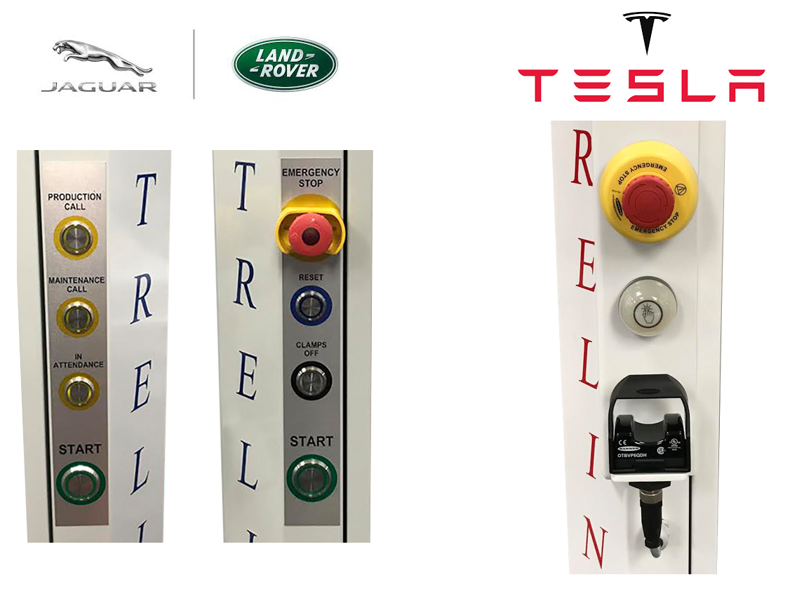 Depending on the required function, each roller door can be fitted out with a range of touch action buttons. These can either be our standard for the open and close condition or to a configuration uniquely designed around the client's specifications.   Shown above are two bespoke button configurations developed for Tesla and JLR. Emergency stop push buttons are mandatory on all load doors with personnel interaction.
