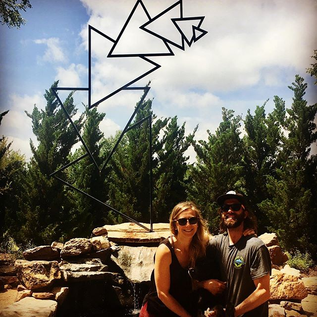 """Izzy's first trip to OK was exactly that! @izabellekrs  Permanent installation of my sculpture at the National Weather Center, """"Watchin Mountains Watchin Me"""" installed in 2011 #oklahomaartist #artist #triangles #weather #nationalweathercenter #sculpture #art #girlfriend #fractal"""
