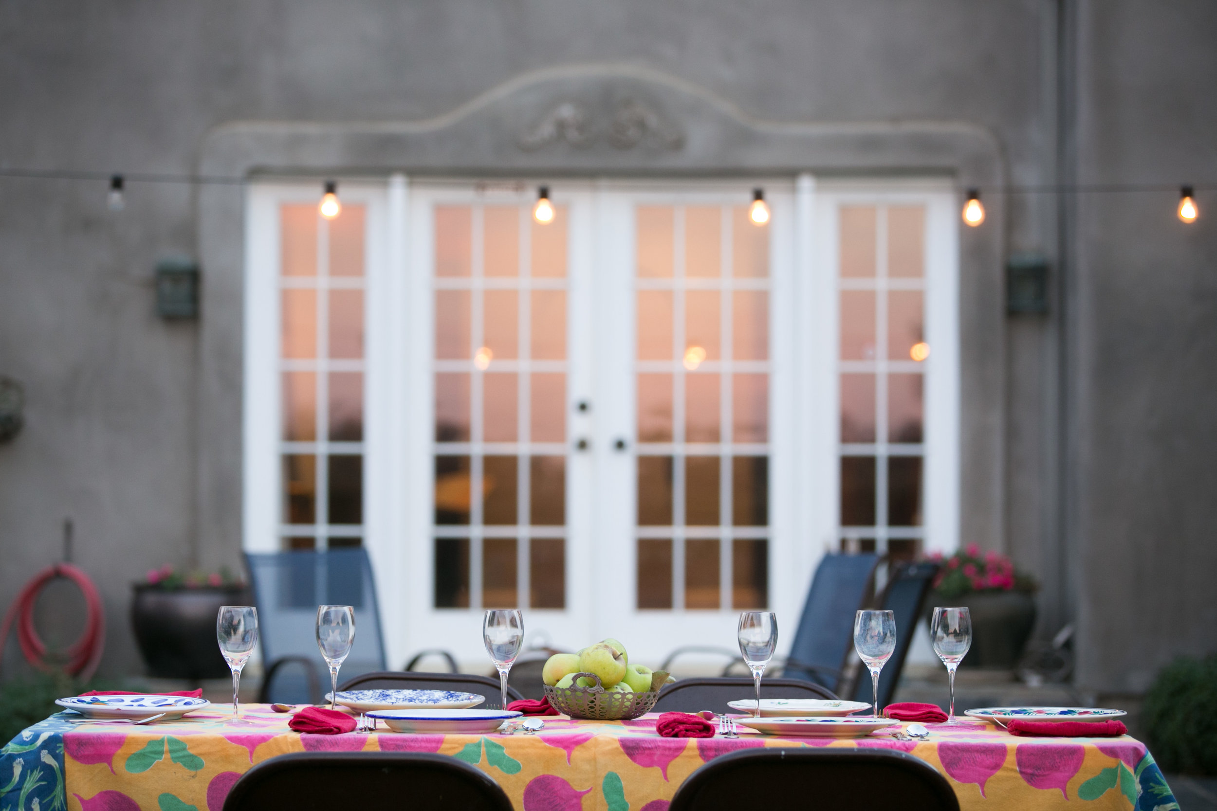Outdoor dining space at The Farm