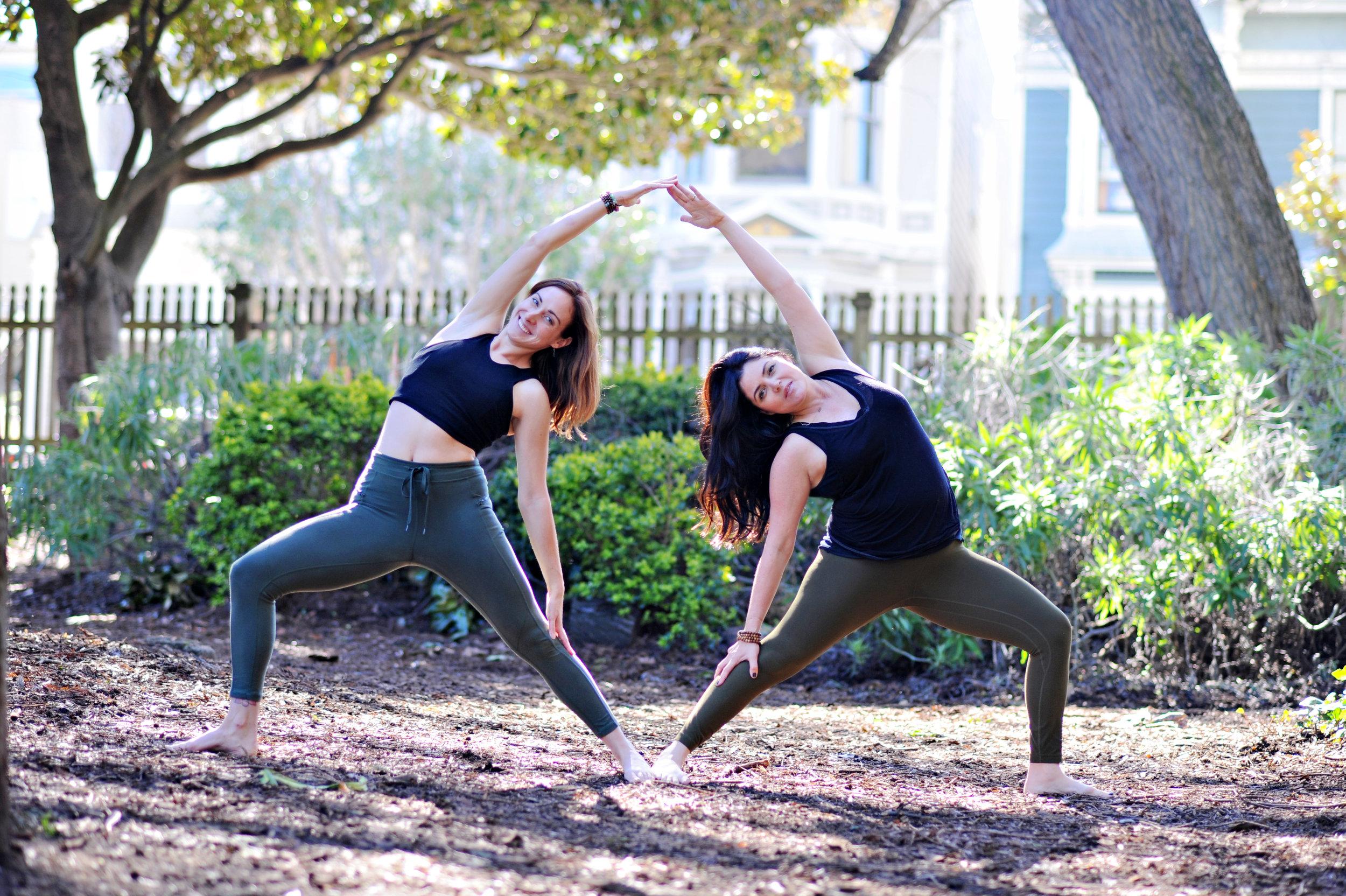 Gillian Confair and Bryant Resch, yoga instructors