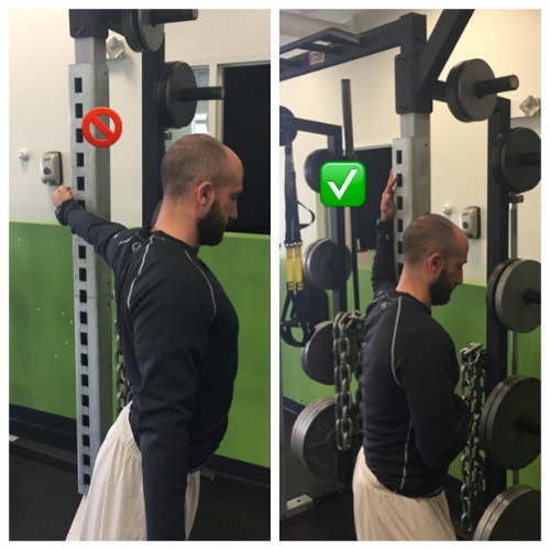 Lower back is too extended and shoulder joint is hyperextending in the picture on the left. On the right, spine is neutral and pec stretch is being targeted by controlling shoulder joint and slight thoracic rotation.