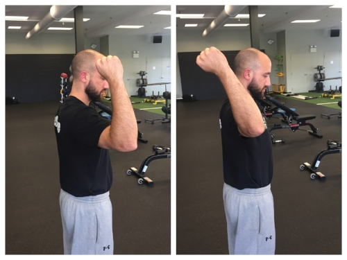 Left: Limited Active Shoulder External Rotation. Here back squatting isn't the best option because shoulder doesn't have enough mobility to safely hold loaded barbell.  Right: Good Active Shoulder External Rotation.