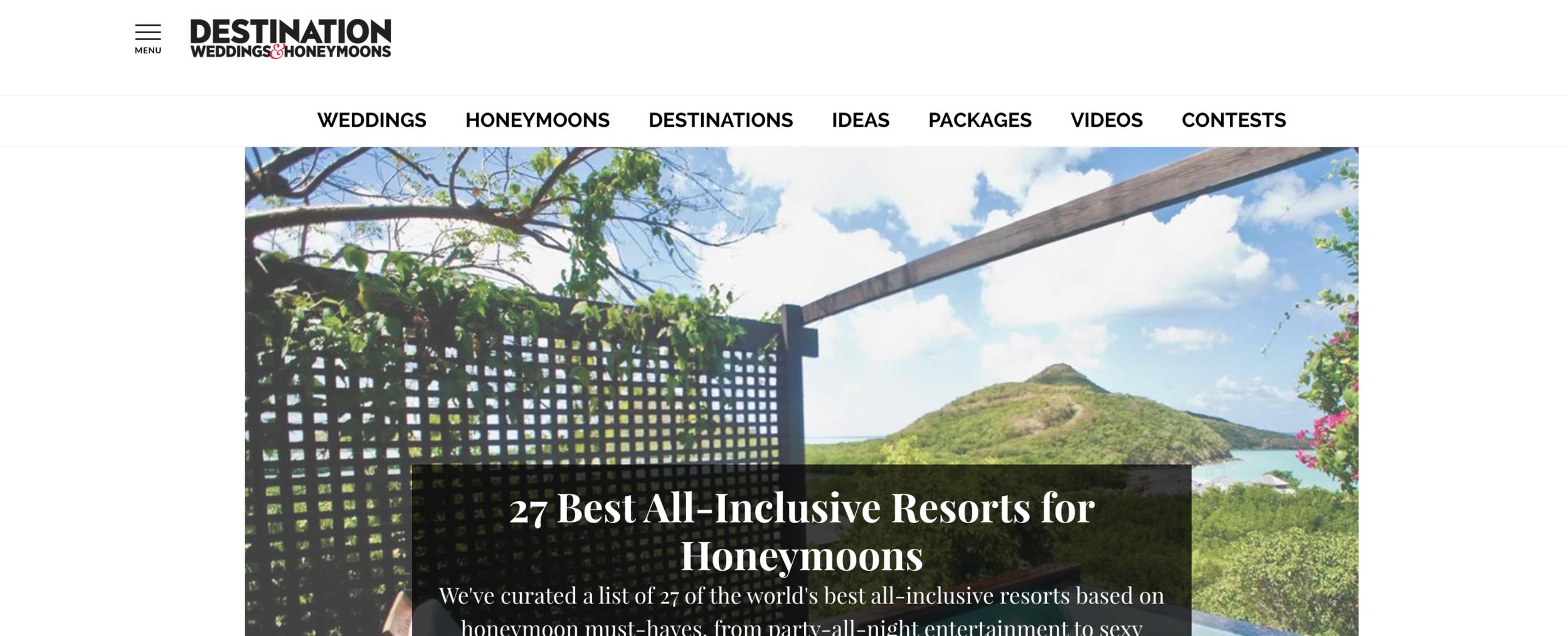 A screenshot of the Destination Weddings & Honeymoons blog website.