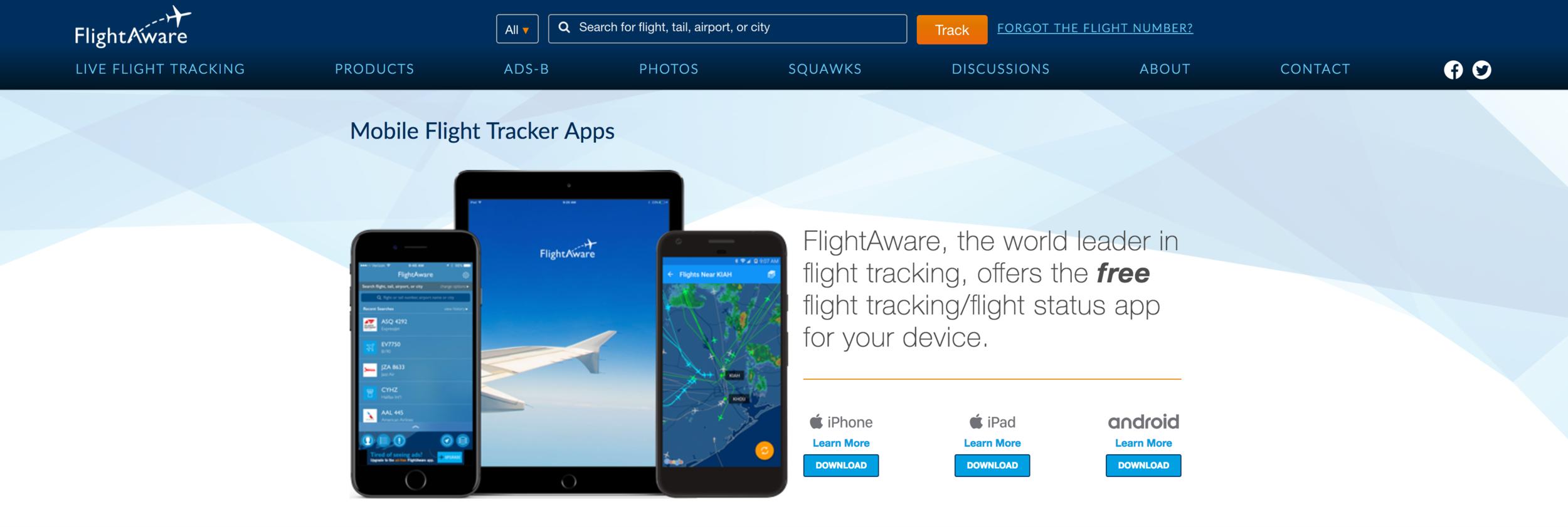 A screenshot of the FlightAware app in action.