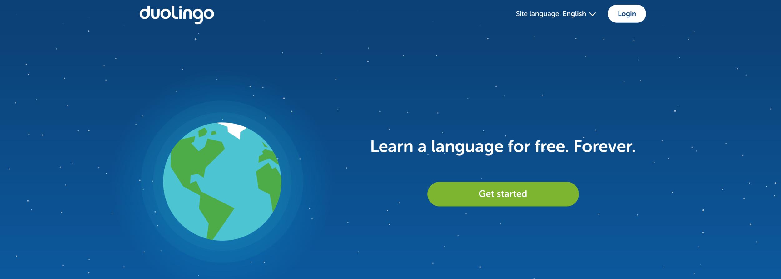 A screenshot of the Duolingo website.