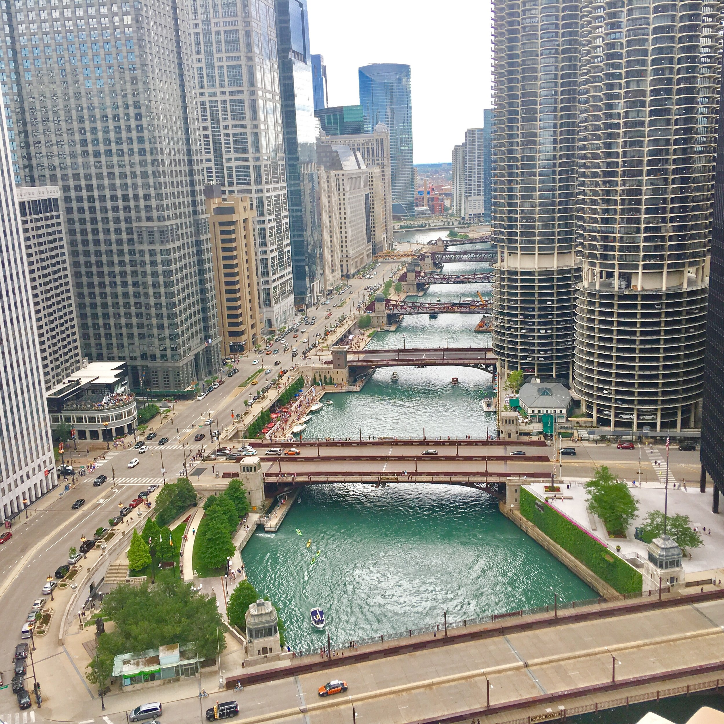 The Chicago River winding through the city's skyscrapers.