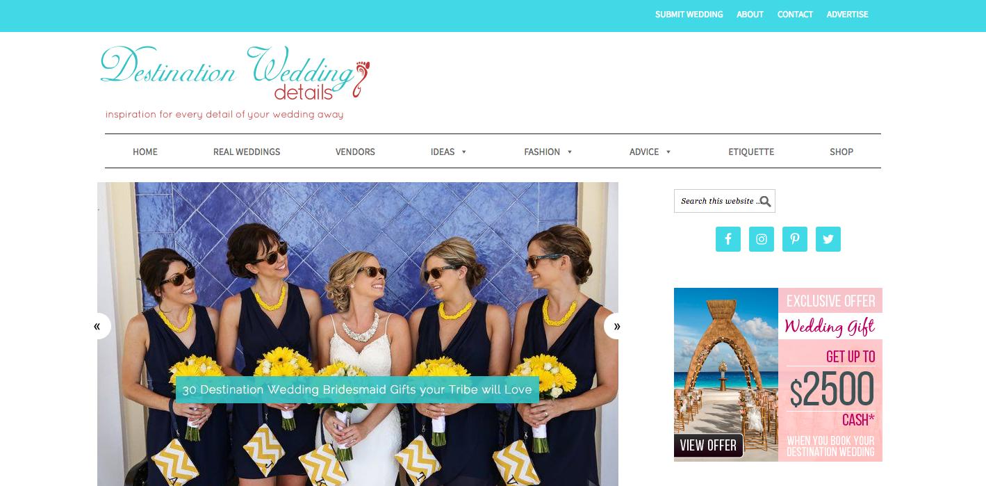 A screenshot of the Fly Away Bride blog website.