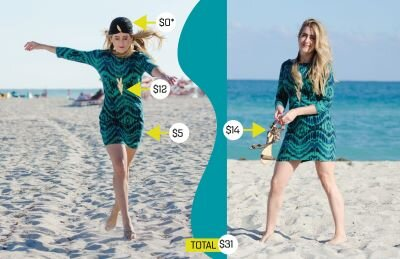 Colleen modeling a turquoise print dress and a stylish turban on a beach.