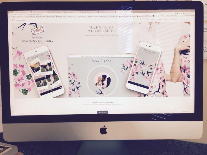 A Mac computer displaying a destination wedding website example.