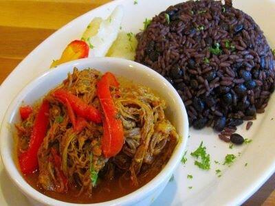 Cuban-inspired ropa vieja and black beans at fusion restaurant Metropol in San Juan.