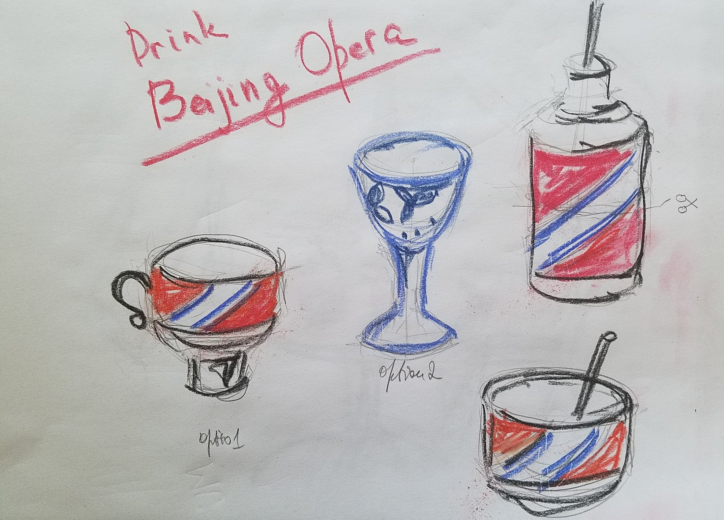 Sketches for the Beijing Opera cocktail