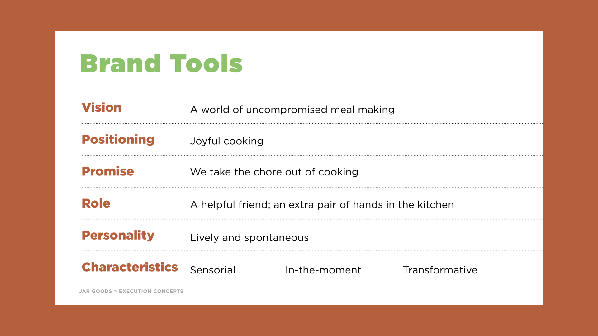 """Jar Goods is the heart of """"a world of uncompromised meal making"""" & and all brand tools enhanced this story"""