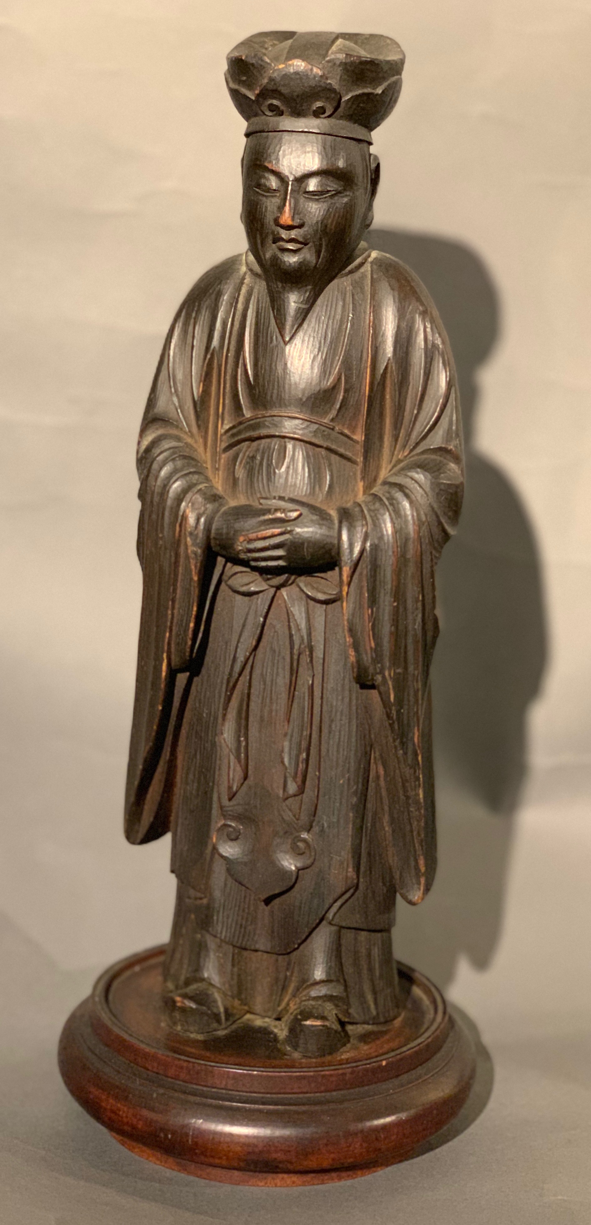 19th c Chinese carved wooden Daoist figure