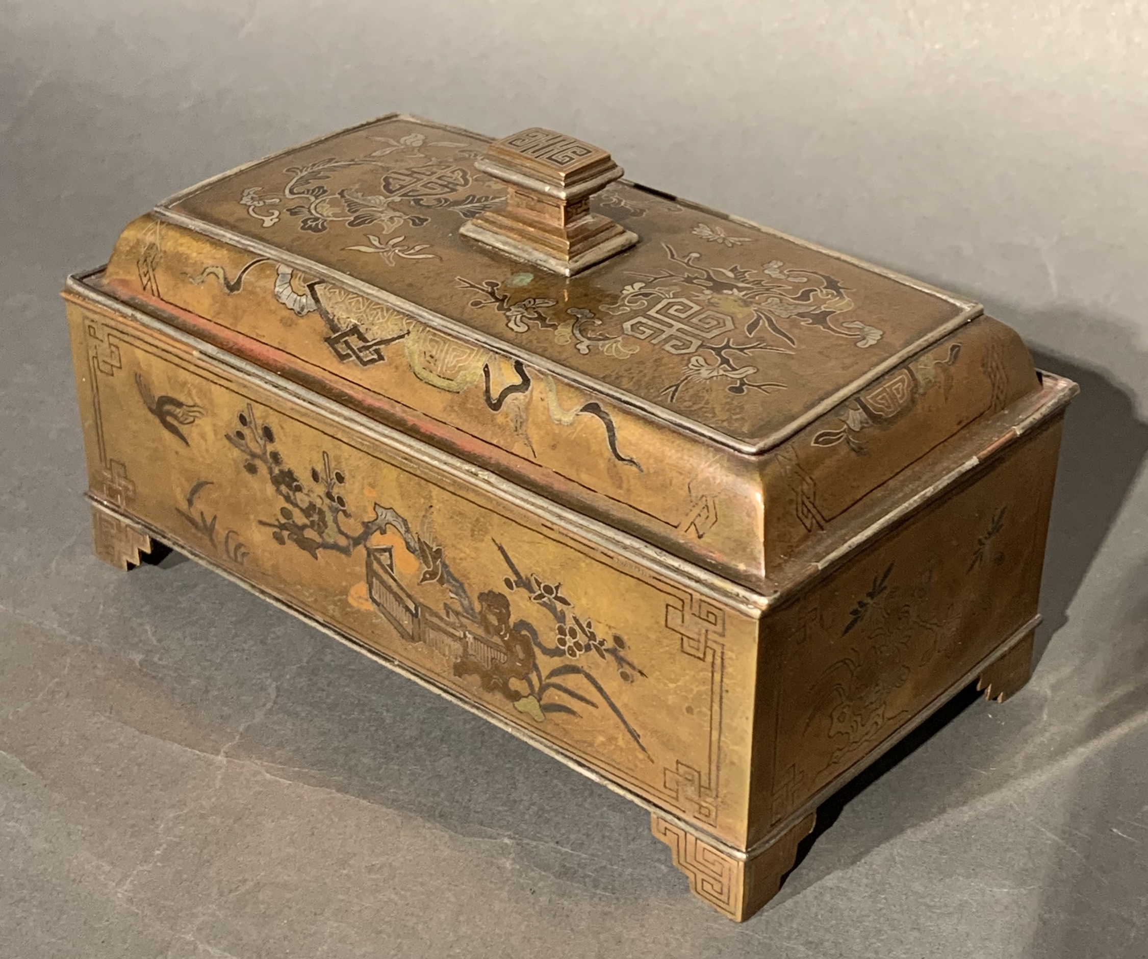 CHINESE COPPER BOX WITH MIXED METAL INLAYS. CHING DYNASTY