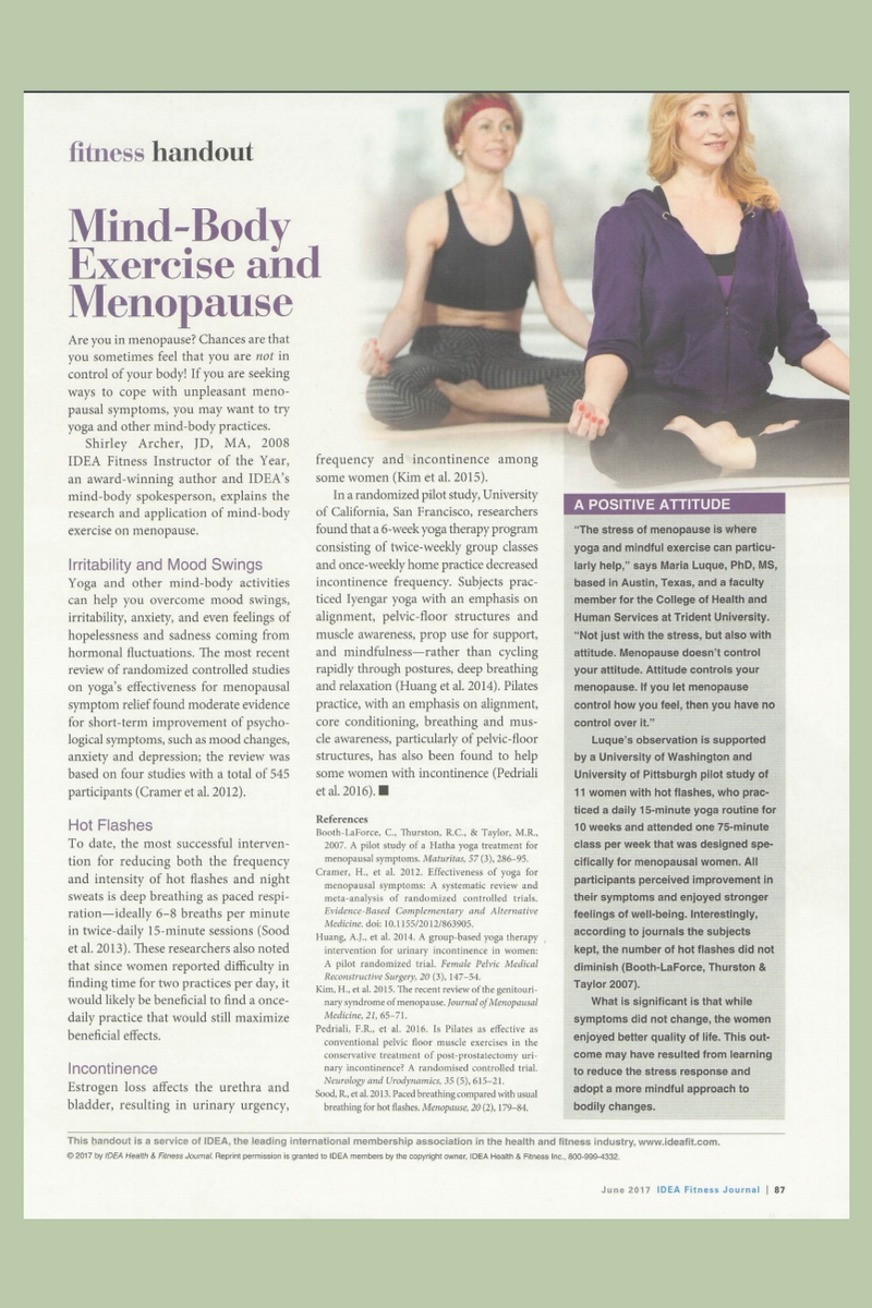 Mind-Body Exercise and Menopause Handout by Shirley Archer