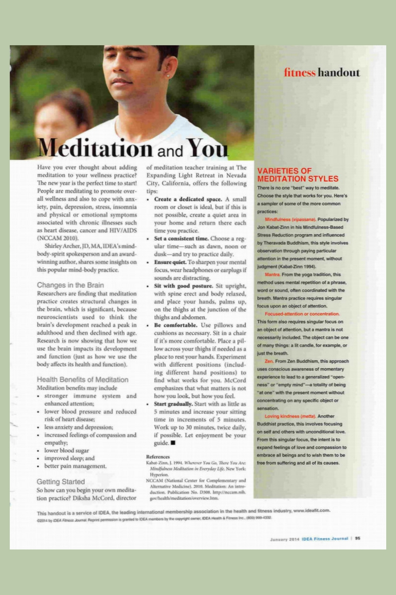 Meditation and You Handout by Shirley Archer