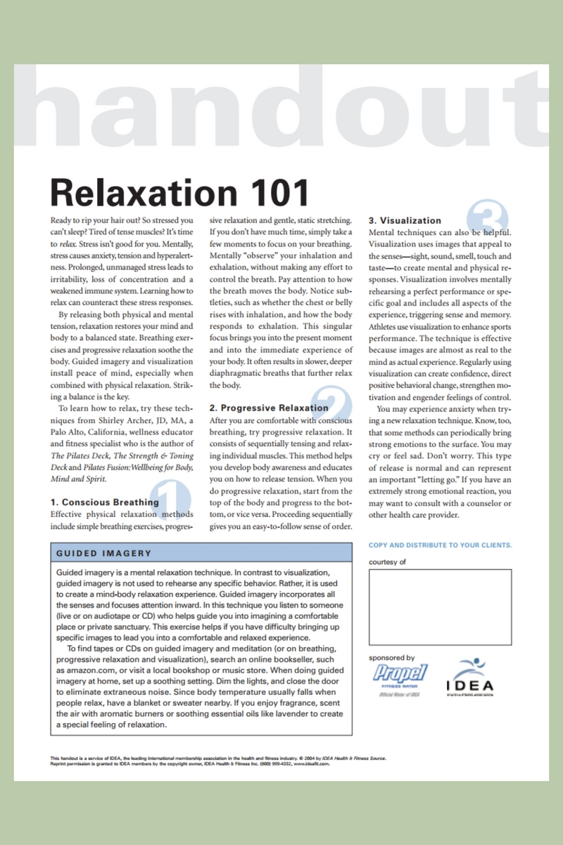 Relaxation 101 Handout by Shirley Archer December 016