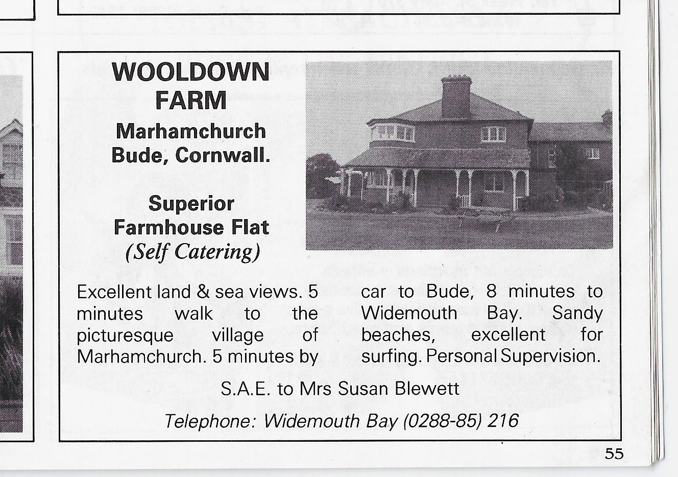 Advert in the 1987 Visit Bude Guide