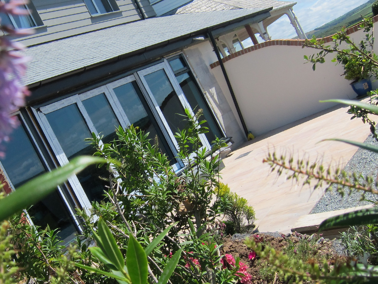 Patio area with natural Indian sandstone paving