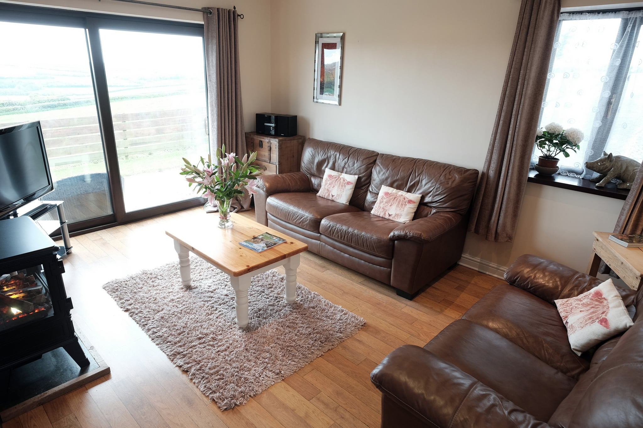 Living room with two leather sofas, electric fire and sound system