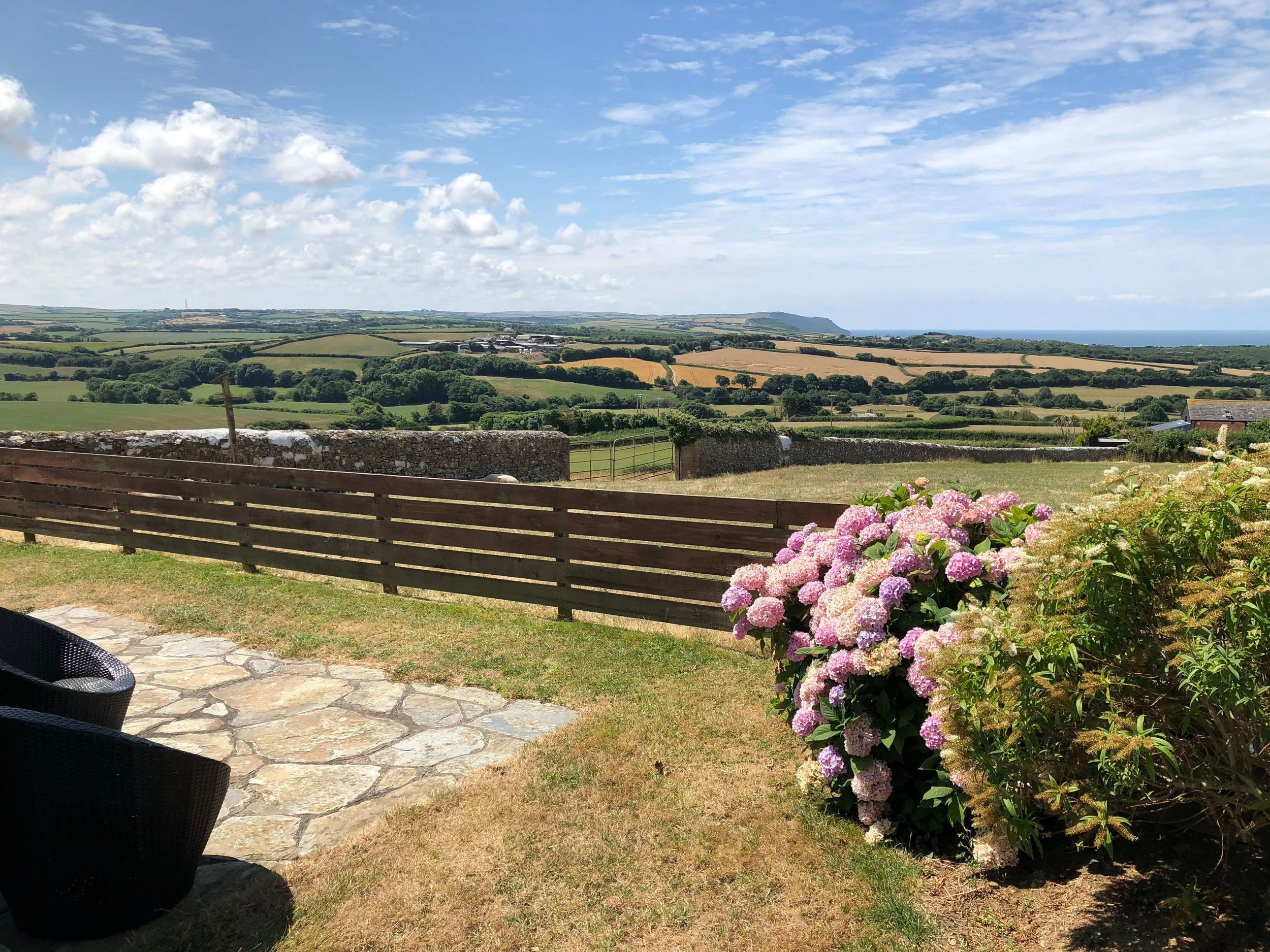 Isolated barn conversion with spectacular countryside and sea views