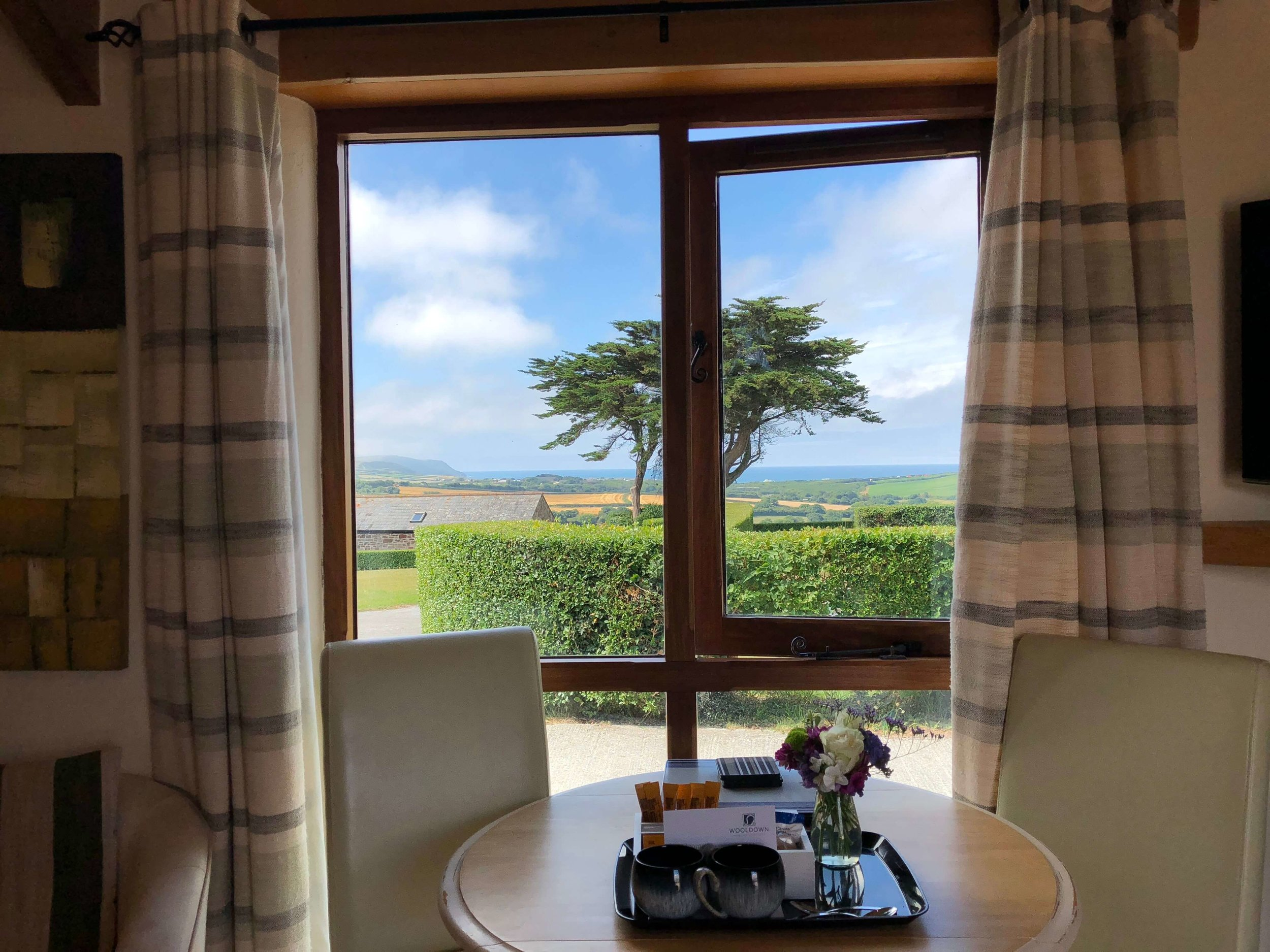 Countryside and sea view from dining area