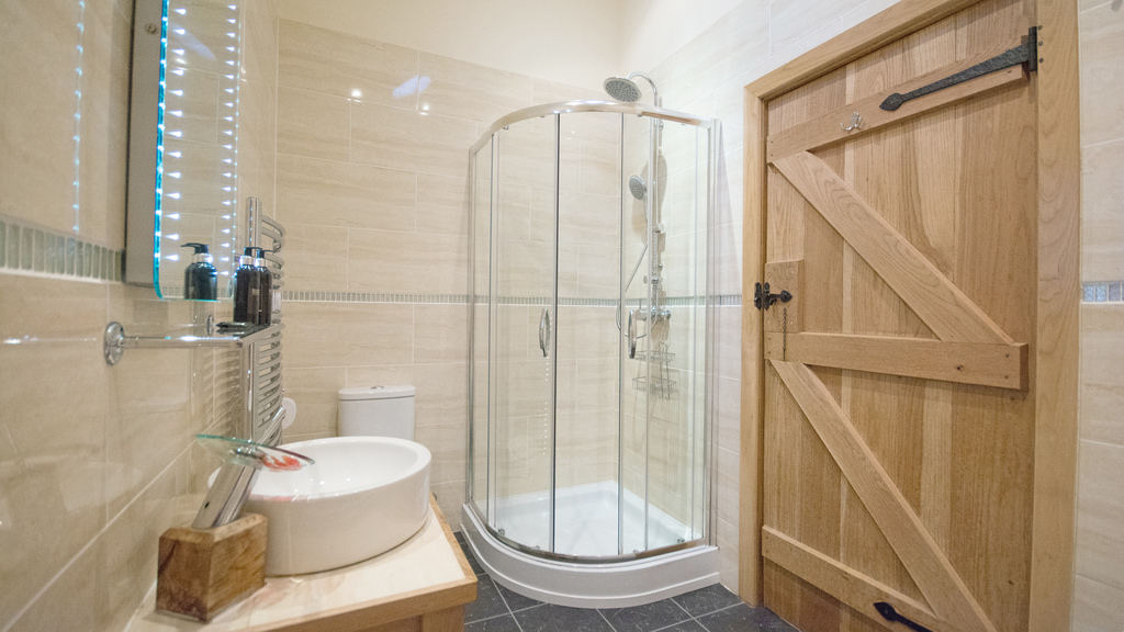 Bathroom with walk-in rainfall shower