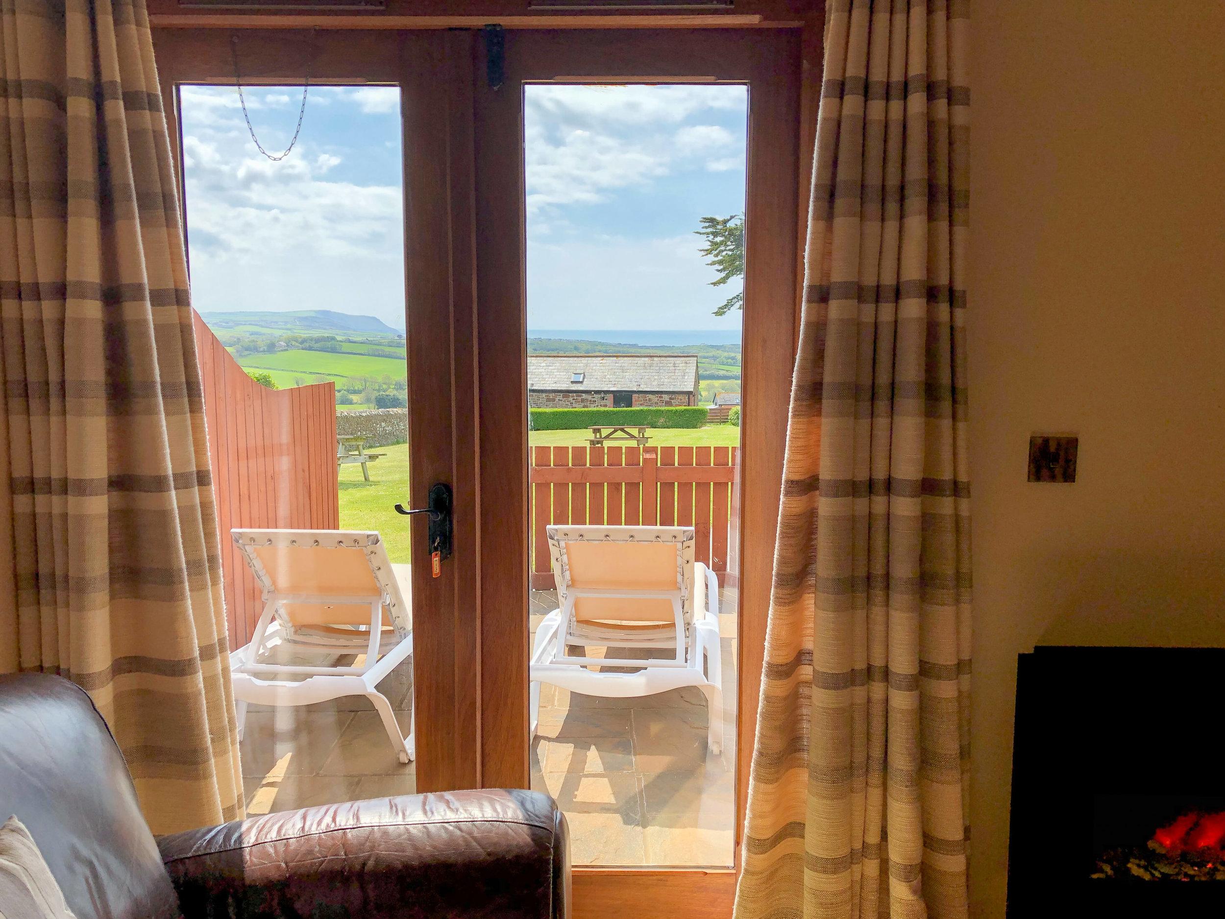 Living area sea views towards the sea at Widemouth Bay
