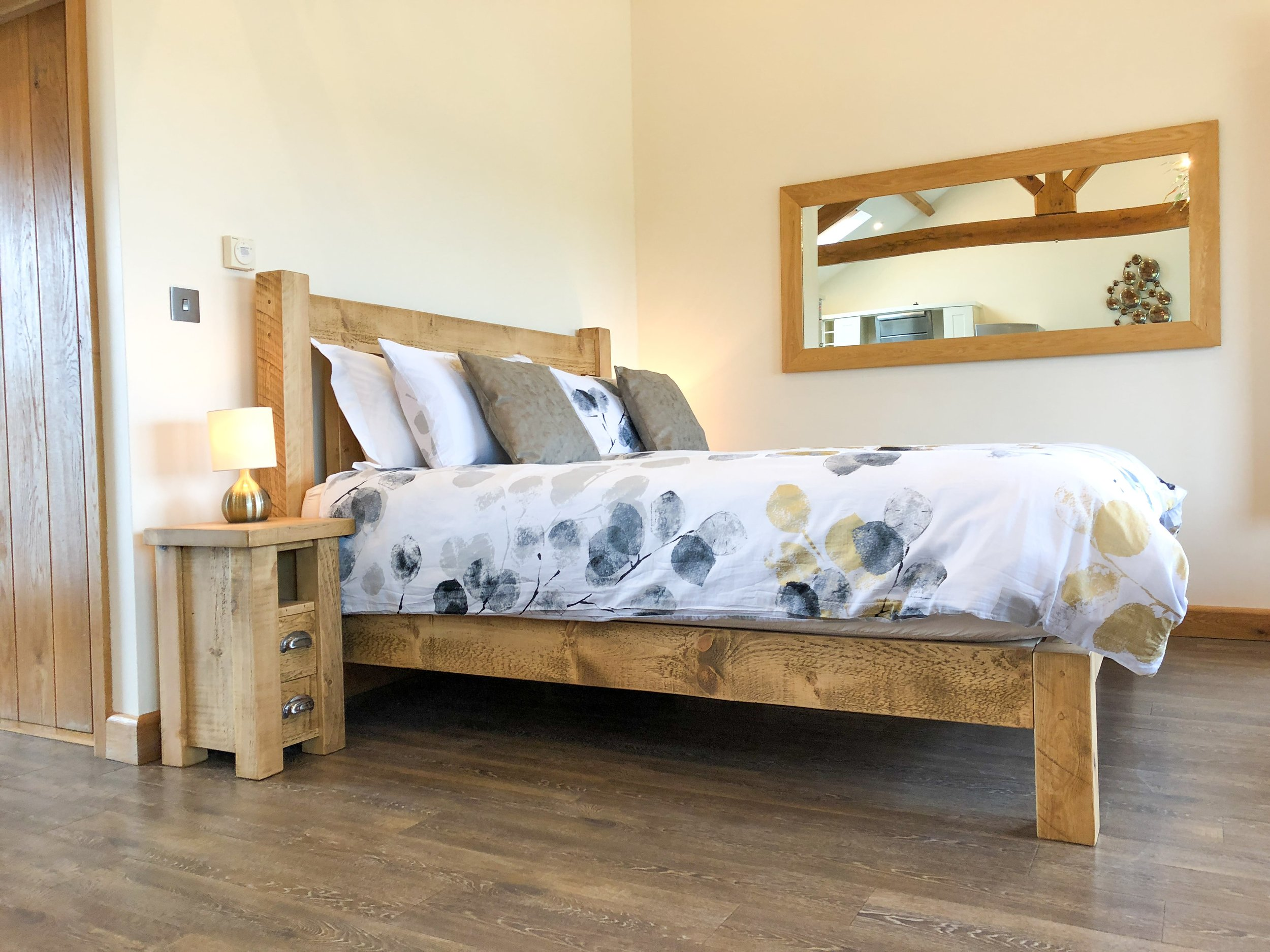 Super-king size chunky plank bed with memory foam mattress