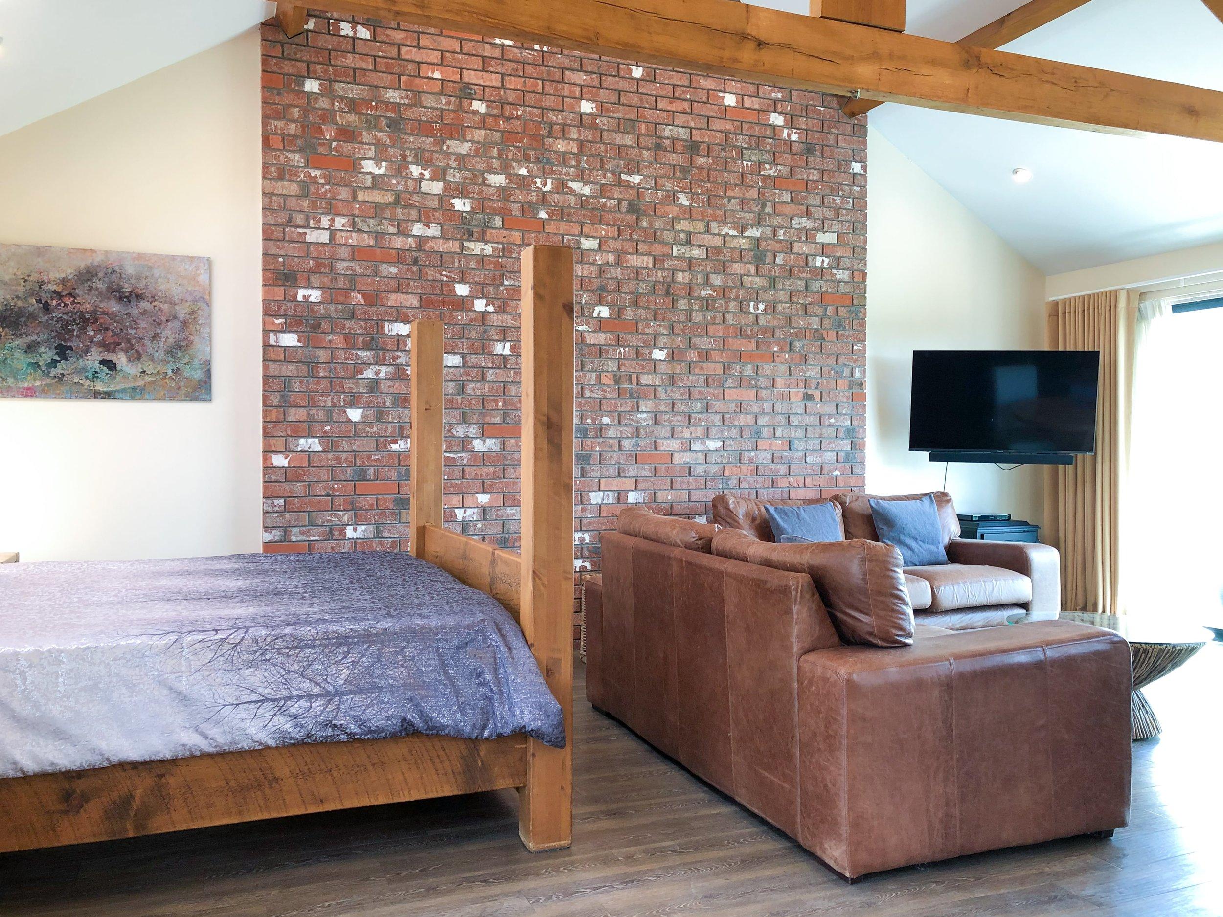 Romantic open plan bedroom area