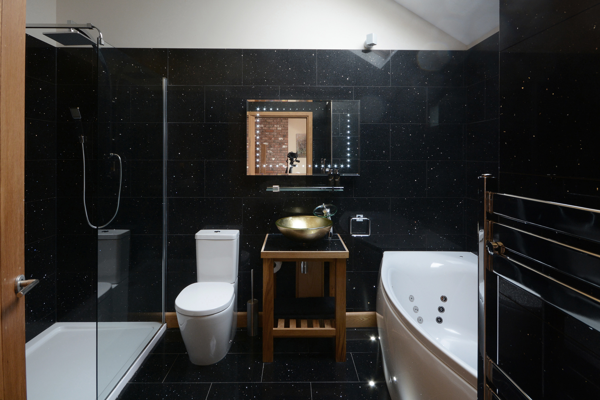 Milky Ways bathroom with spa bath and walk in shower