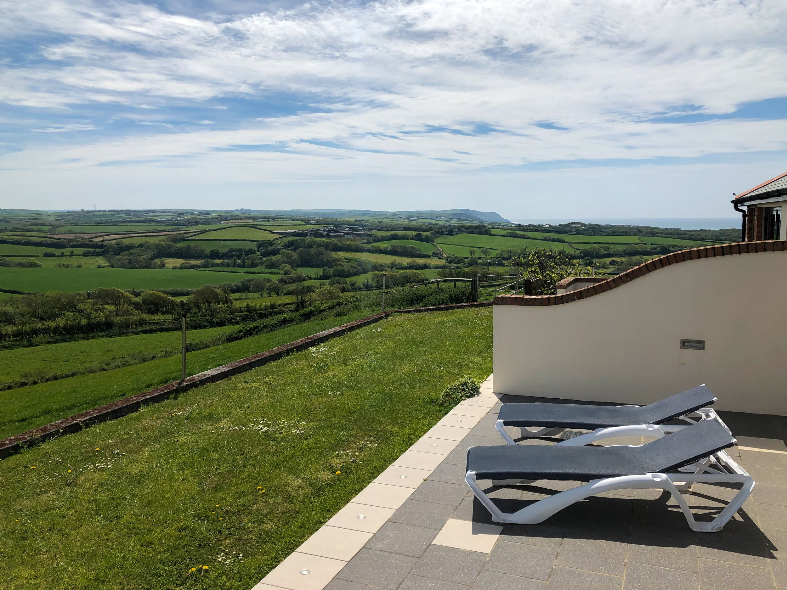 Superb countryside and sea views from the patio area of the Milky Way
