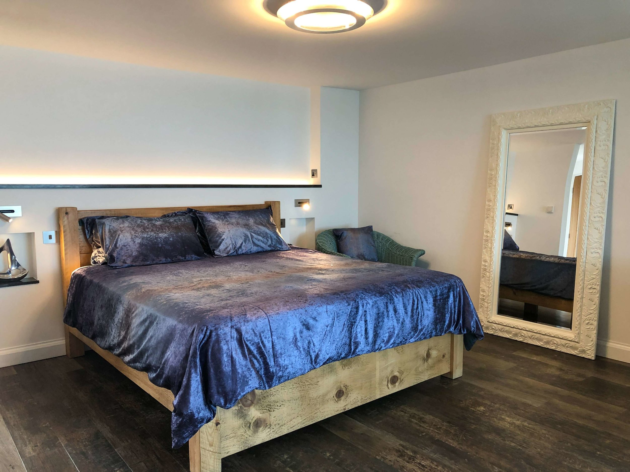 Super-king size bed in Silver Sea with LED feature lighting