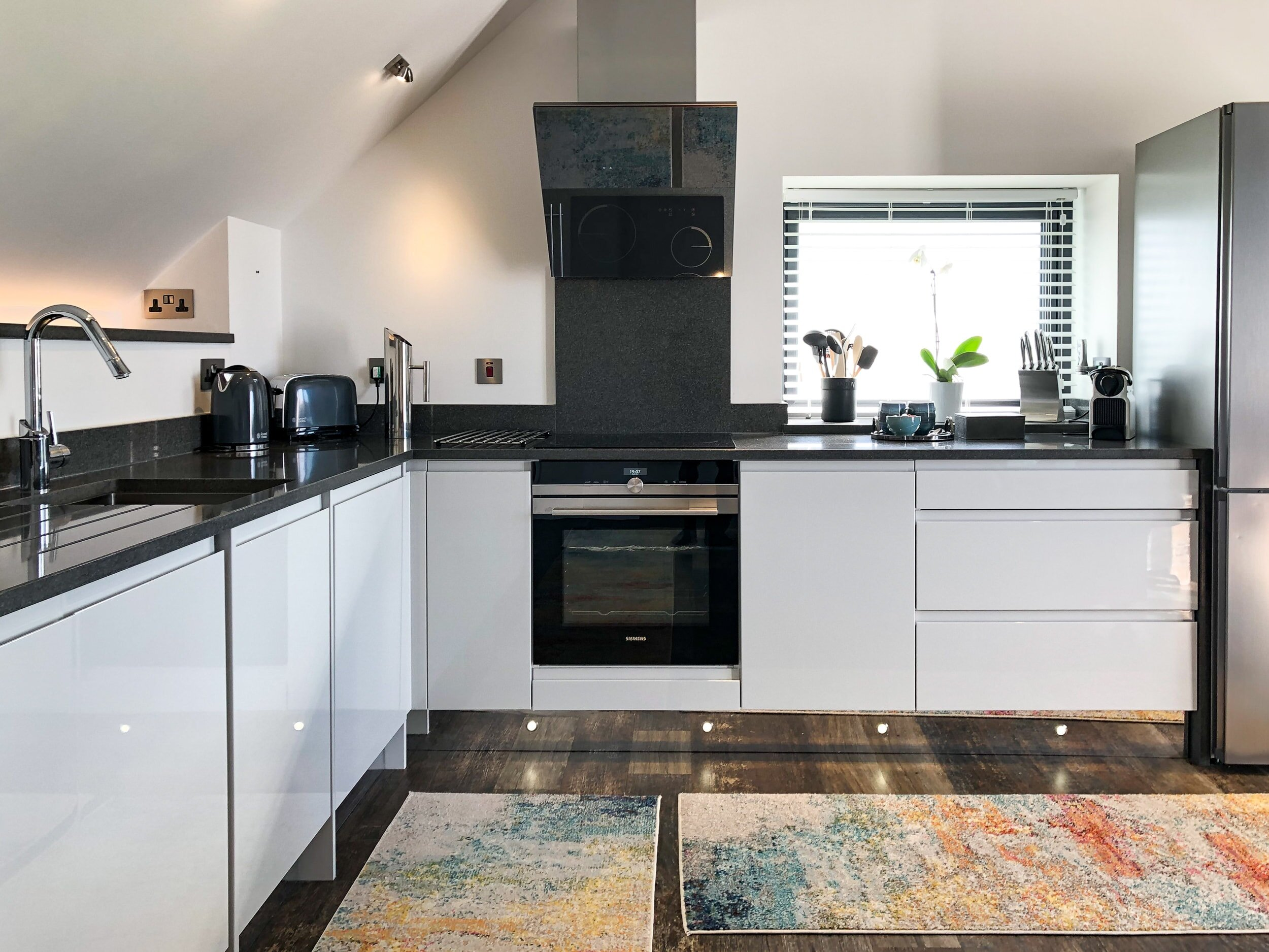 Open plan kitchen with electric oven