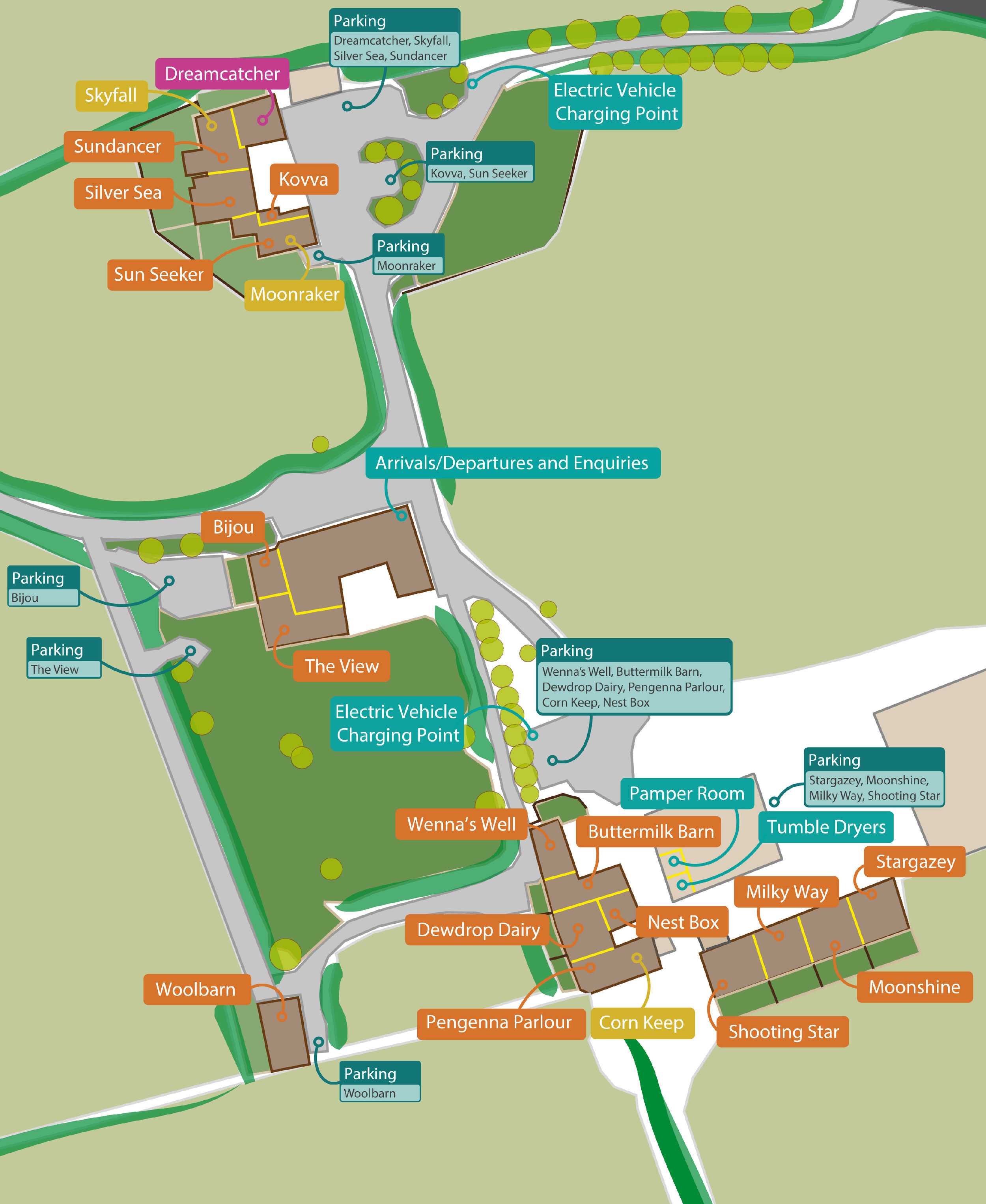 Layout of all 20 one-bedroom properties at Wooldown Holiday Cottages