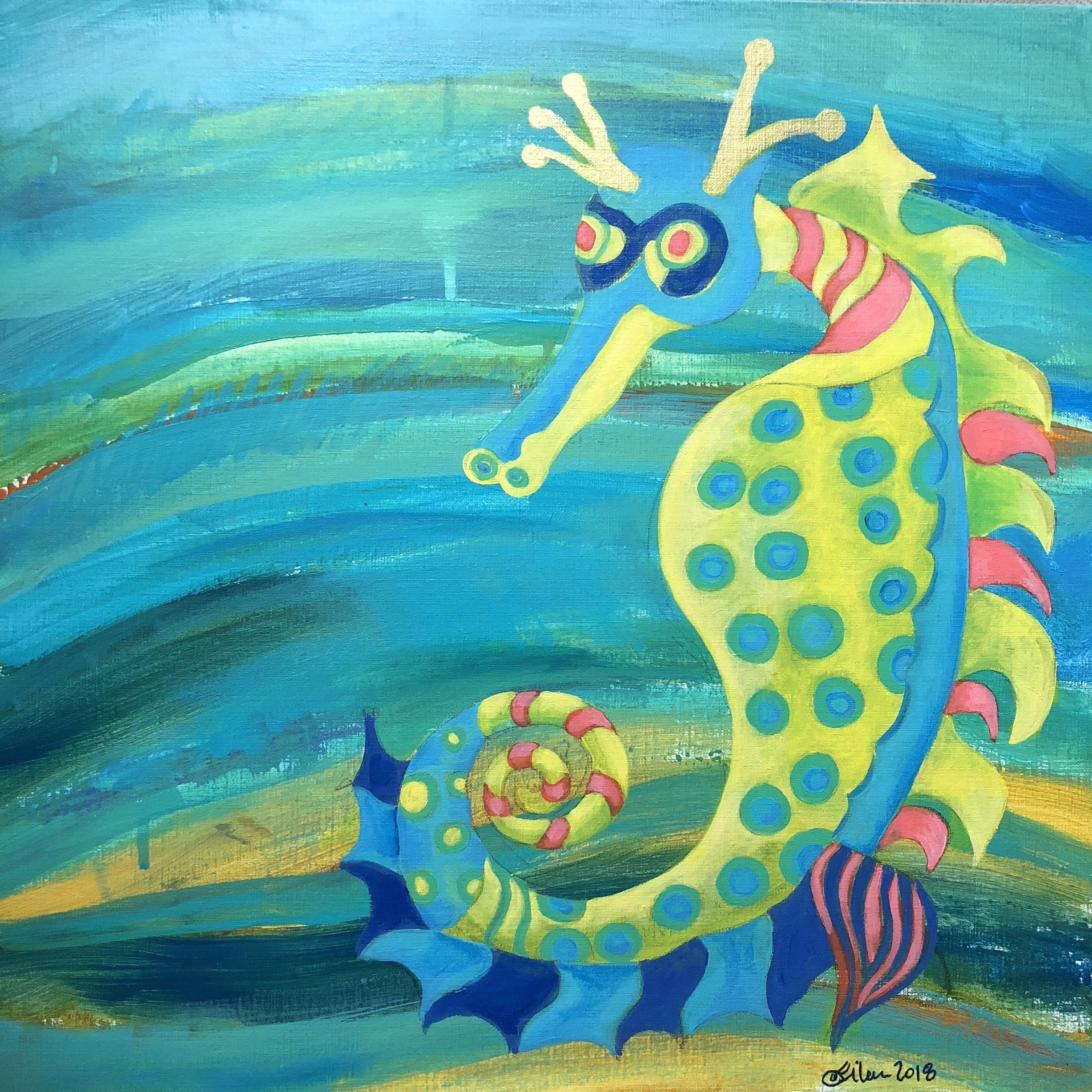 """""""Striation Series-Seahorse with Serious Spots"""". 18""""x18"""" acrylic on linen."""