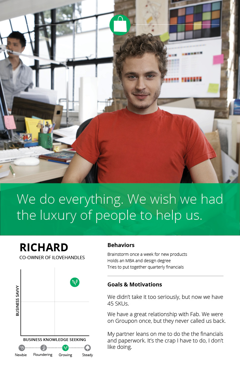 Persona created for an e-commerce company, showing important motivations and key behaviors for a small business owner.