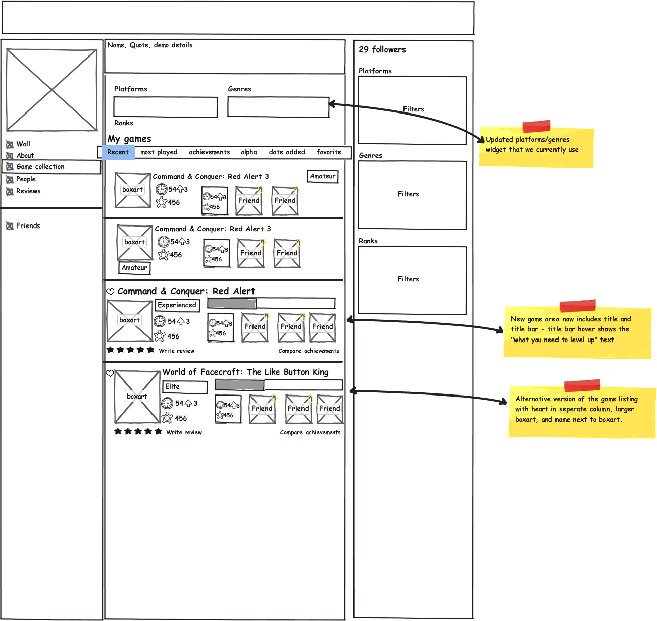 This wireframe was used for working with the visual designer to build a gamer social network from the ground up.